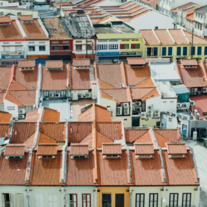 Rooftops between small streets in Lisbon