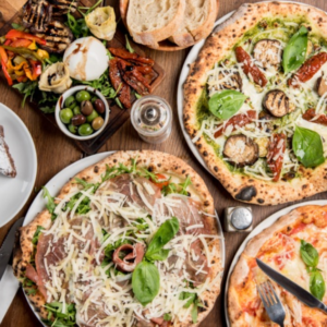 Pizza on a table from l'oro di napoli in ealing, london
