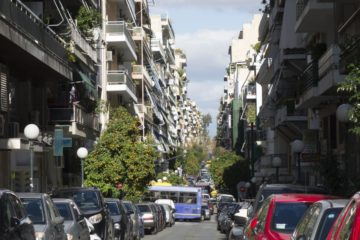 A row of typical Athenian modernist apartments